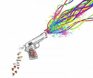 Illustration of gun firing a rainbow of colours, discarded bullets turning into love hearts